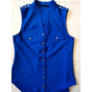 MINE royal blue sleeveless tunic top gold buttons